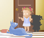 De kat en het Meisje Royalty-vrije Stock Fotografie