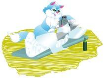 De kat helpt zieke hond Royalty-vrije Stock Afbeeldingen