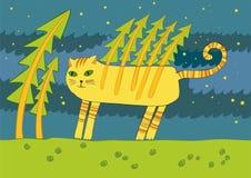 De kat in het hout Royalty-vrije Stock Fotografie