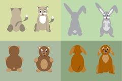 De kat, hond, konijn en draagt Royalty-vrije Stock Foto