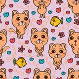 De kat kijkt naadloos patroon Royalty-vrije Stock Afbeelding