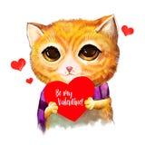 De kat met in hand hart is mijn valentijnskaarttekst De leuke minnaar van het beeldverhaalkarakter met groetkaart Voor uitnodigin Royalty-vrije Stock Afbeelding