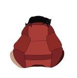De kat rekte zich uit op de rug van stoel en slaap uit EPS 8 Stock Fotografie