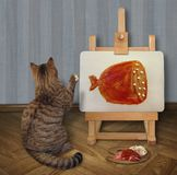 De kat trekt een beeld op schildersezel 3 royalty-vrije stock foto's
