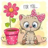 De kat van de groetkaart met bloem royalty-vrije illustratie