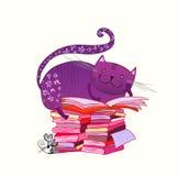De kat van de lezing Stock Foto