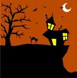 De kat van Halloween op een enge achtergrond Stock Afbeelding