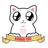 De Kat van het Beeldverhaalkawaii van de Funyschoonheid vector illustratie