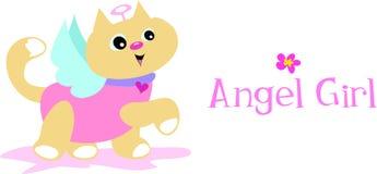 De Kat van het Meisje van de engel Stock Afbeeldingen