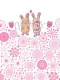 De Kat van het paar en de Cirkel Flowers_eps van de Kaart van de Muis Royalty-vrije Stock Afbeeldingen