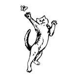 De kat vangt een vlinder royalty-vrije illustratie