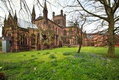 De Kathedraal Cheshire Engeland het UK van Chester in de lente stock afbeelding