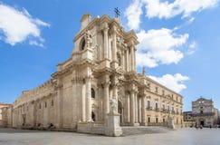 De Kathedraal Duomo in Syracuse, Sicilië, Italië Stock Afbeeldingen