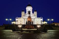 De kathedraal en het monument van Helsinki aan Alexander II Royalty-vrije Stock Foto
