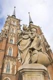 De Kathedraal en het standbeeld van Wroclaw Stock Afbeeldingen
