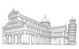 De kathedraal en de toren van Pisa vector illustratie