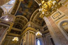 De kathedraal` s binnenland van heilige Isaac ` s, St. Petersburg Stock Foto