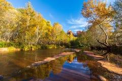 De kathedraal schommelt Autumn Reflection Landscape Stock Foto's