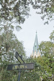 De Kathedraal St John Baptist Savannah GA van het straatteken stock afbeelding
