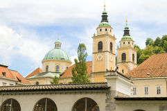 De Kathedraal St. Nicholas Church Slovenia Europe van Ljubljana in oud t Royalty-vrije Stock Fotografie
