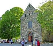 De Kathedraal Stavanger van Stavanger domkirke in Noorwegen stock foto's