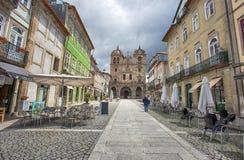 De Kathedraal van Braga in stads historisch centrum, Portugal stock fotografie