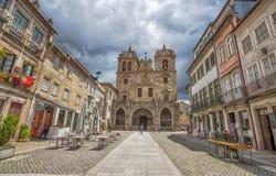 De Kathedraal van Braga in stads historisch centrum, Portugal royalty-vrije stock afbeelding