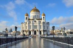 De Kathedraal van Christus de Verlosser, de Patriarchale brug, Moskou stock foto