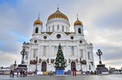 De Kathedraal van Christus de Verlosser in de winter, Moskou royalty-vrije stock afbeelding