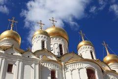 De Kathedraal van de aankondiging in Moskou het Kremlin, Rusland Stock Foto