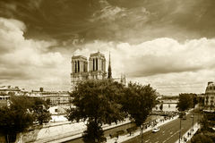 De kathedraal van de Notredame, Parijs Royalty-vrije Stock Afbeeldingen