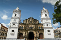 De Kathedraal van de Stadsmidden-amerika van Panama in plein Burgemeester Casco Antig Royalty-vrije Stock Afbeeldingen