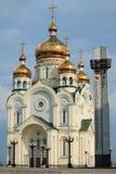 De Kathedraal van de transfiguratie in Khabarovsk Stock Afbeelding