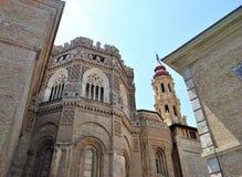 De kathedraal van de Verlosser in Saragossa Stock Fotografie