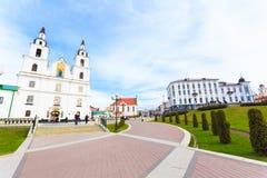 De Kathedraal van Heilige Geest - Symbool van Minsk, Wit-Rusland Royalty-vrije Stock Foto's