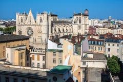 De kathedraal van heilige Jean in de stad van Lyon, Frankrijk Stock Afbeelding