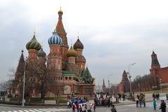 De Kathedraal van het Basilicum van heilige Moskou - Rusland Stock Fotografie