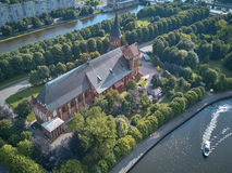 De Kathedraal van Konigsberg Kaliningrad, vroeger Koenigsberg, Rusland royalty-vrije stock foto's