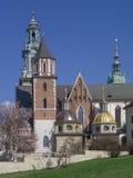 De Kathedraal van Krakau Wawel op Wawel-Heuvel Stock Afbeelding