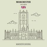 De Kathedraal van Manchester in Manchester, het UK Oriëntatiepuntpictogram royalty-vrije stock afbeelding