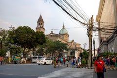 De Kathedraal van Manilla in het Intramuros district van Manilla wordt gevestigd dat royalty-vrije stock afbeelding