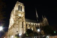 De Kathedraal van Notre Dame bij nacht Stock Fotografie