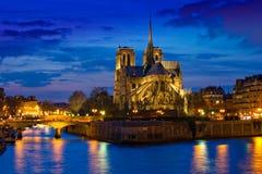 De Kathedraal van Notre Dame bij nacht in Parijs Frankrijk Stock Foto