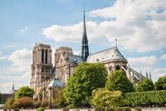 De Kathedraal van Notre Dame de Paris, Frankrijk, de Lente Stock Foto
