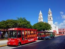 De Kathedraal van Onze Dame van de Zuivere Conceptie in de ommuurde stad van Campeche royalty-vrije stock afbeelding