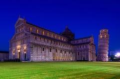 De Kathedraal van Pisa (Duomo-Di Pisa) met de Leunende Toren van Pisa (Torre-Di Pisa) op Piazza dei Miracoli in Pisa, Royalty-vrije Stock Foto