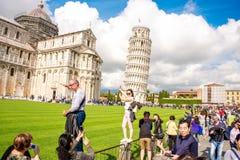 De kathedraal van Pisa met leunende toren in Italië Royalty-vrije Stock Foto