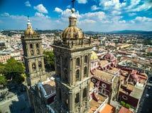 De Kathedraal van Puebla Stock Foto's
