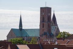 De Kathedraal van Ribedomkirke, Ribe, Denemarken Stock Afbeeldingen