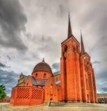 De Kathedraal van Roskilde, een Unesco-Erfenisplaats in Denemarken Royalty-vrije Stock Foto's
